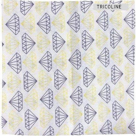 Tricoline Diamante Cinza e Roxo 50cmX1,40m