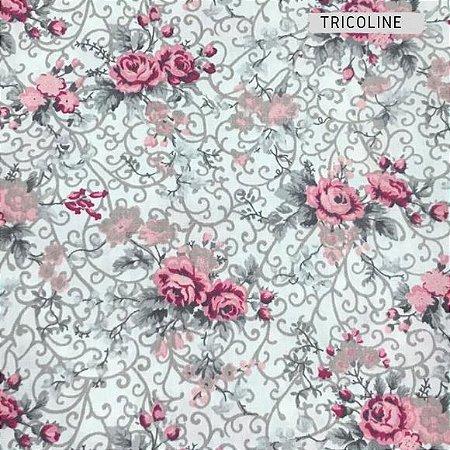 Tricoline Rosa Delicadas Fundo Branco  50cmX1,40m
