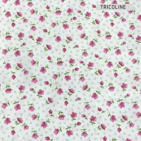 Tricoline Mini Flores Rosa   50X1,40 M