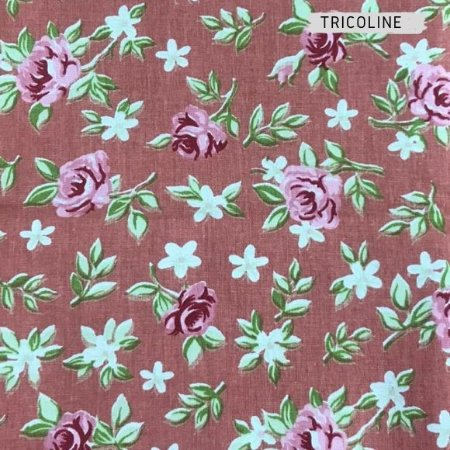 Tricoline Flores Rosas 50cmX1,40m