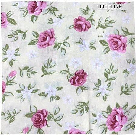 Tricoline Flores Diversos Fundo Branco 50cmX1,40m