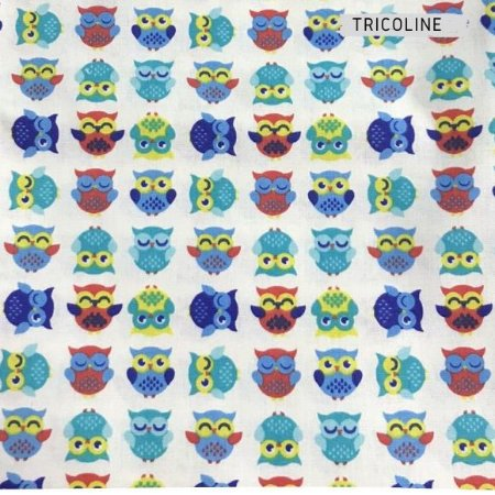 Tricoline Corujas Tons Azul 50cmX1,40m