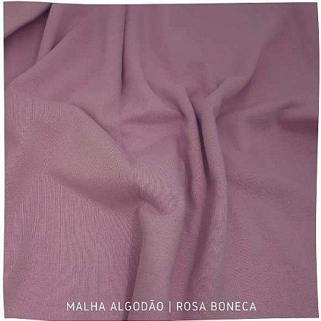 Malha Algodão Penteada Rosa Boneca 50cm x 1,80m (tubular)