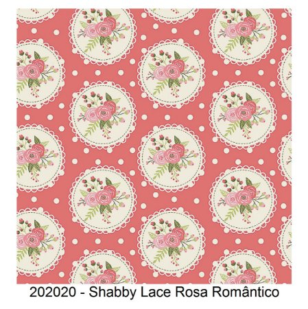 Tricoline Shabby Lace Rosa Romântico 50cm x 1.50m largura