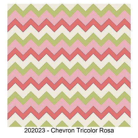 Tricoline Chevron Tricolor Rosa 50cm x 1.50m largura