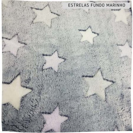 Pele Carneirinho Estrelas fundo Marinho 50cmx1,60m