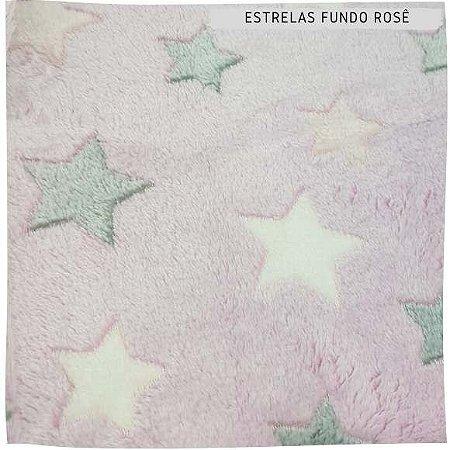Pele Carneirinho Estrelas fundo rosê 50cmx1,60m
