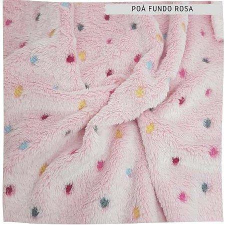 Pele Carneirinho Poás coloridos fundo rosa 50cmx1,60m