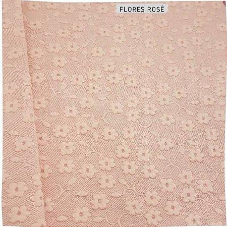 Plush Malha Flores fundo rose  50cm x1,60m