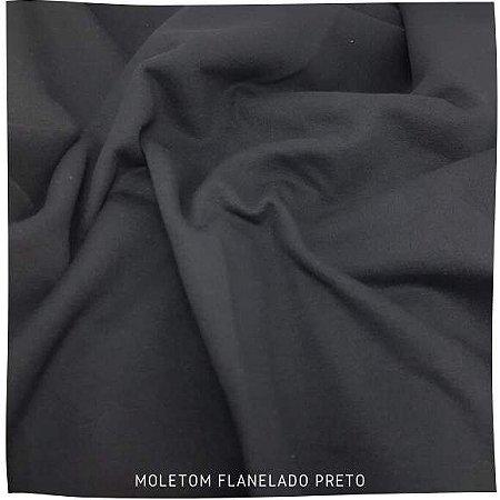 Moletom Flanelado Preto 50cmx 95cm (tubular)