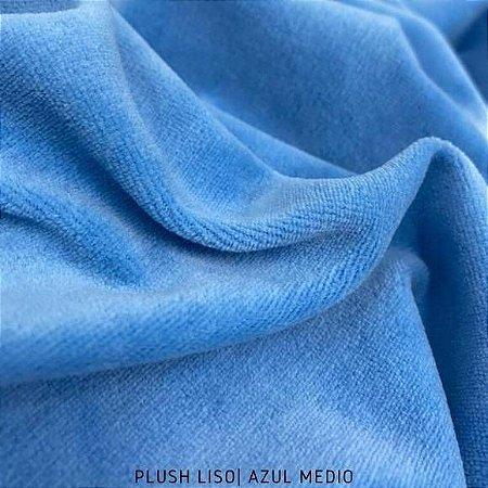 Plush Azul Médio Onda Tecido Aveludado 50CM X 1.70M
