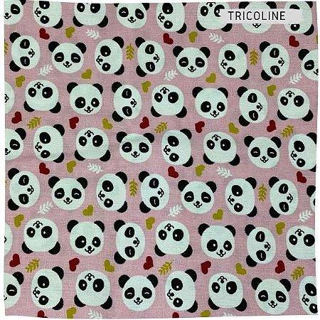 Tricoline Panda Fundo Rosa 50cmX1,50cm largura