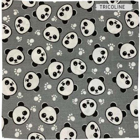 Tricoline Panda Fundo Cinza 50cmX1,50m largura
