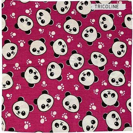 Tricoline Panda Fundo Pink 50cmX1,50m largura