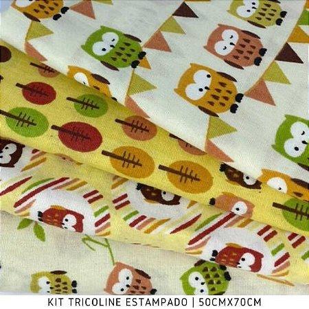 Kit Tricoline Corujinha Funo Amarelo  4tecidos 50cmx70cm