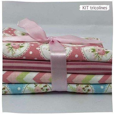 Kit Tricoline Flores 4tecidos 50x75cm