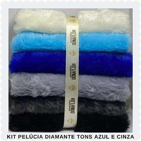 Kit Pelúcia Diamante Tons Azul e Cinza 6 tecidos 30cm x 80cm