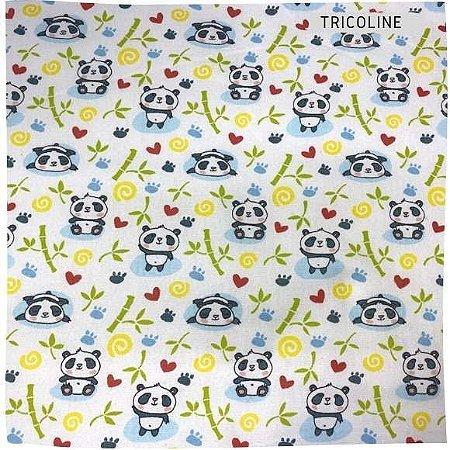 Tricoline Pandas Fundo Branco 50cm x 1.50m largura