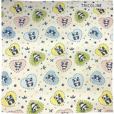 Tricoline Pandas Coração 50cm x 1.50m largura