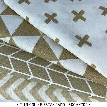 Kit Tricoline 4Tecidos Geométrico Tons de Bege 50cmx70cm cada