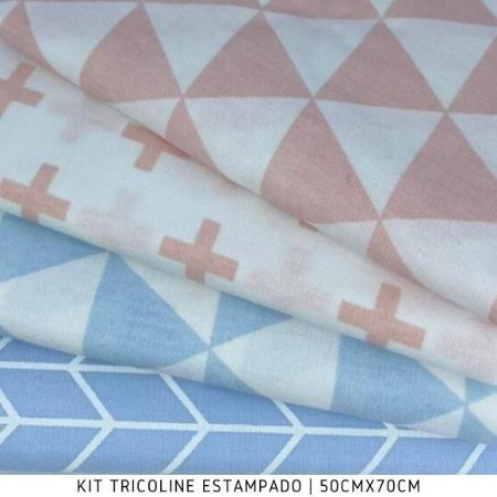 Kit Tricoline 4Tecidos Geométrico Rosa e Azul  50cmx70cm cada