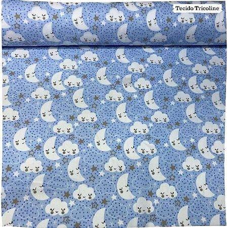 Tricoline Mundo Dos Sonhos Fundo Azul 50cm x 1.50m largura