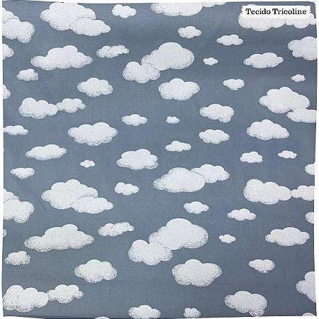 Tricoline Nuvens Fundo Cinza 50cm x 1.50m largura