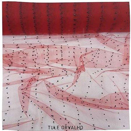 Tule Orvalho Vermelho Gotas Preto 50cmx1,20cm