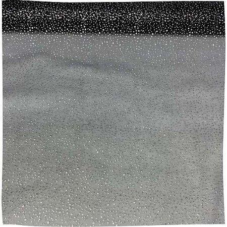 Organza Explosão Preto com Prata 50cm x 1,50cm