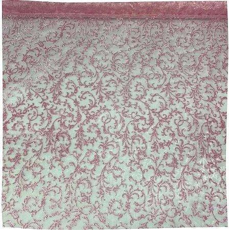 Organza Decorada Rosa 50cm x 1,50cm