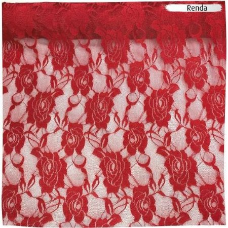 Renda com Elastano Vermelho 50cm x 1,50m