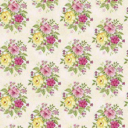 Tricoline Grand Flower Creme 50cm x 1.50m largura