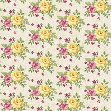 Tricoline Flower Creme 50cm x 1.50m largura