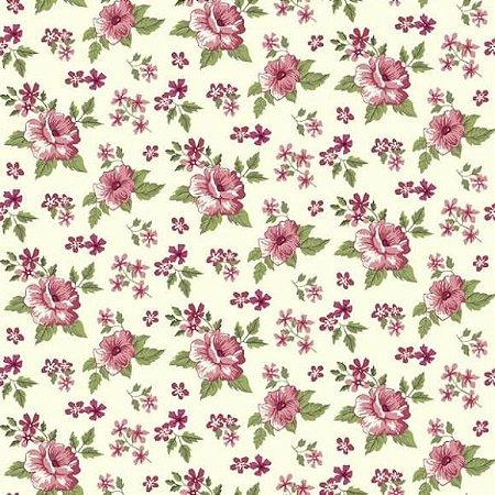 Tricoline Flower Fundo Creme 50cm x 1.50m largura