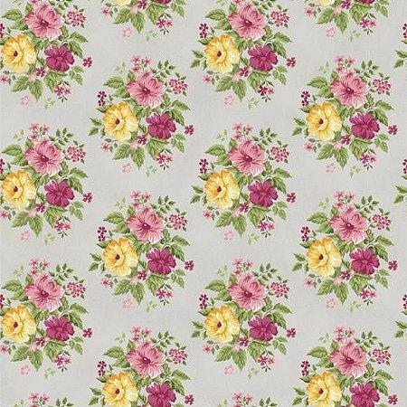Tricoline Grand Flower Cinza 50cm x 1.50m largura