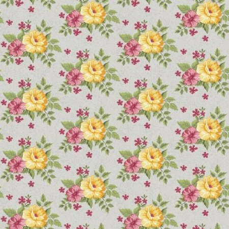 Tricoline Flower Cinza 50cm x 1.50m largura