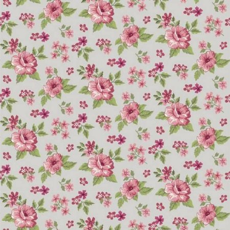 Tricoline Flower Fundo Cinza 50cm x 1.50m largura