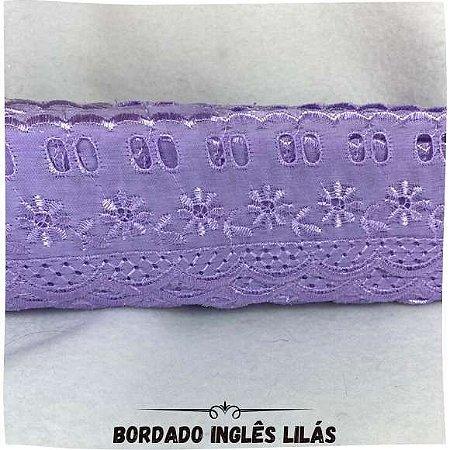 Bordado Inglês Com Passa Fita Lilás 5,5cm Largura