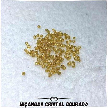 Miçanga Cristal Com Furo Dourada 0,2mm