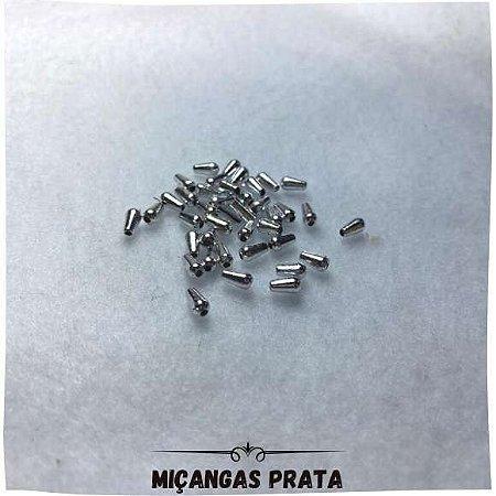 Miçangas Com Furo Prata 0,4mm x 0,8mm