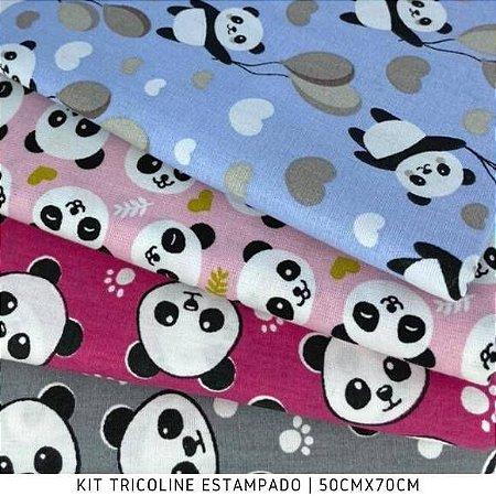 Kit Tricoline 4Tecidos Pandas 50cmx70cm