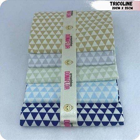 Kit Tricoline Triângulos 5Tecidos 20cm x 35cm