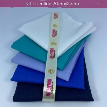 Kit Tricoline 5Tecidos Liso Tons Azul 20cm x 35cm cada