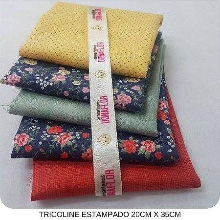 Kit Tricoline 5Tecidos Floral Marinho 20cm x 35cm cada