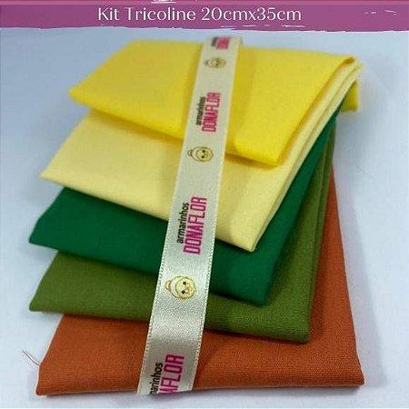 Kit Tricoline 5Tecisos Liso Tons Amar. e Verde 100% Algodão - Medida 20cm x 35cm