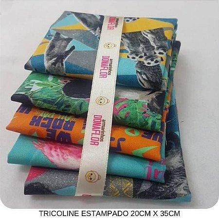 Kit Tricoline 5Tecidos Safari 20cm x 35cm cada