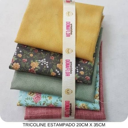 Kit Tricoline 5tecidos Floral e Composê 20cm x 35cm cada