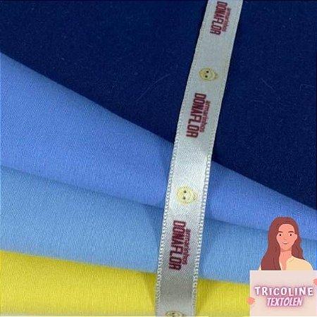 N03 Kit Tricoline Misto Tons Azul e Amarelo (4tecidos) 50cm x70cm
