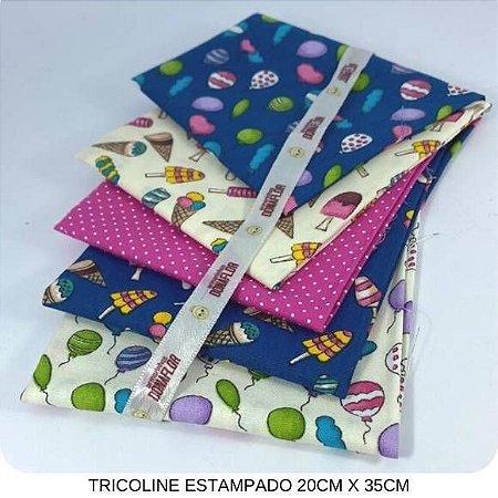 Kit Tricoline Mundo dos Doces  5Tecidos 20cm x 35cm