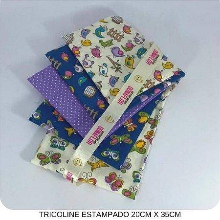 Kit Tricoline 5Tecidos Pássaros e Borboletas 20cm x 35cm cada